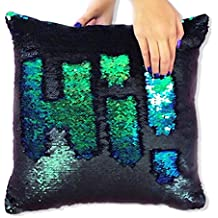 Ankit Mermaid Pillow Reversible Sequin Pillow that Changes color by Mermaid Green Black