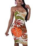 Women's Sexy Floral Print Backless Strap Criss Cross Bodycon Bandage Midi Dress Small Orange
