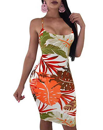 Women's Sexy Floral Print Backless Strap Criss Cross Bodycon Bandage Midi Dress Medium Orange