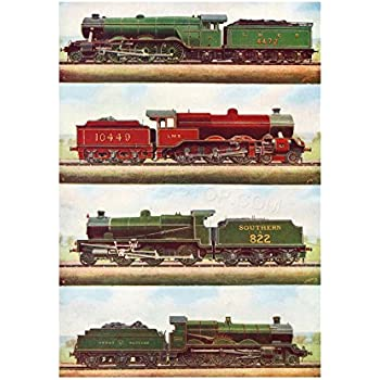 The Art Stop Transport Vintage Painting Train Engine LOCOMOTIVES STEAM Print F12X3701