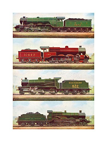 (The Art Stop Transport Vintage Painting Train Engine LOCOMOTIVES STEAM Print F12X3701 )