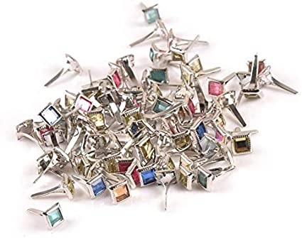 VIEIRADE Mixed Color 50Pcs Square Rhin Brads Embellishments For Accessories Fastener Brads Metal Crafts 7x7x15mm C2199