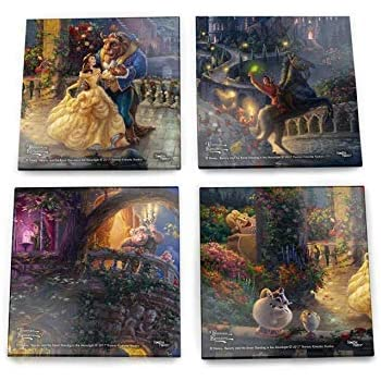 Disney Beauty and the Beast Glass Coaster Set - Thomas Kinkade - Comes With Stylish Modern Wooden Holder