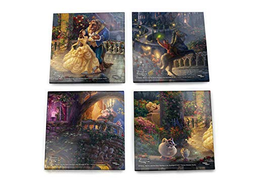 Disney Beauty and the Beast Glass Coaster Set - Thomas Kinkade - Comes With Stylish Modern Wooden Holder ()