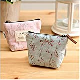 GLCON [set of 2] Calico Fabric Portable Purse Pouch Bag,Zipper Enclosure and Durable Exterior,a Lightweight Universal Carrying case for Lipstick Coins Cash Credit card Headset USB Charger Cable Keys