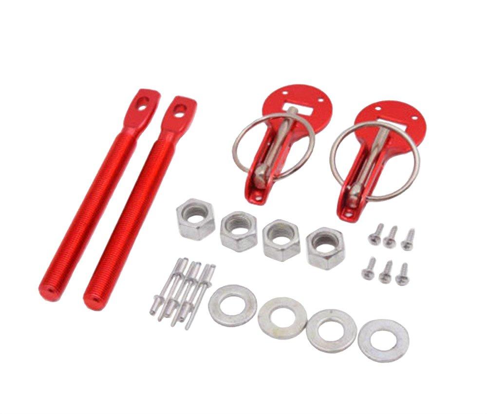 SUNDELY® Red Colour Universal Car Vehicle Hood Mount Bonnet Latch Catch Pin Key Locking Kit Set 390167