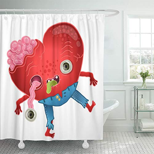 Emvency Shower Curtain Blue Dead Zombie Heart Love Green Monster Shower Curtains Sets with Hooks 72 x 78 Inches Waterproof Polyester Fabric]()