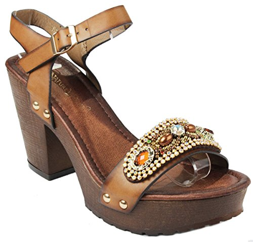 Women Vint-1 Tan Jewel Rhinestone Studded Slingback Faux Wooden Platform Chunky Heel Sandals-7.5