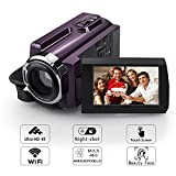 4K Camera Camcorder, Eamplest WiFi Ultra HD Video Camera 48MP 16X Digital Zoom Night Vision Handheld Camcorders with 3'' LED Touchscreen, 2 Batteries and One Extra Battery Charger Bay(Camcorder-4K)
