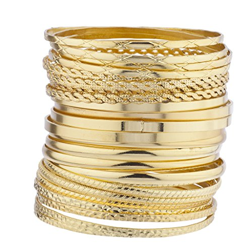 Set Bangle Multi (Lux Accessories Gold Tone Multi Textured and Smooth Aztec Bangle Set)