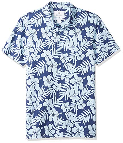 28 Palms Men's Standard-Fit Performance Cotton Tropical Print Pique Golf Polo Shirt, Navy/Light Blue Hibiscus Floral, X-Large