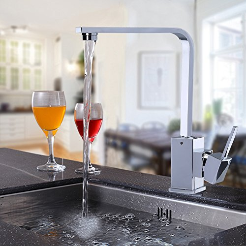 Single Handle Kitchen Faucet 90 Degree Waterfall Bathroom Sink Faucet Chrome Finish