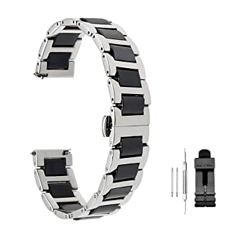 Amazon.com  Luxury Ceramic Watch Band Replacement Stainless Steel Watch  Bracelet Deployment Clasp Metal Watch Strap All Links Removable for Men  Women 20mm ... 22329b825