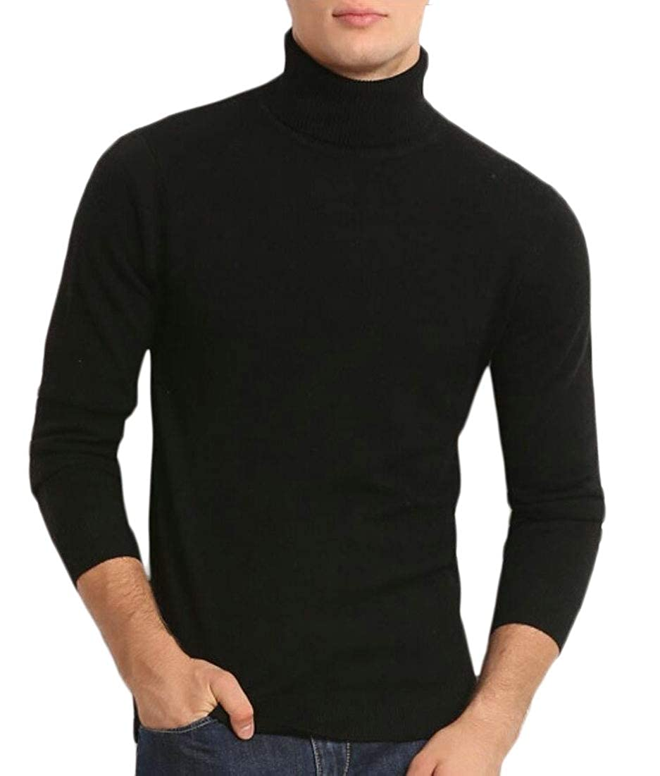 ouxiuli Men Turtleneck Ribbed Basic Slim Fit Pullover Knitted Thermal Sweater