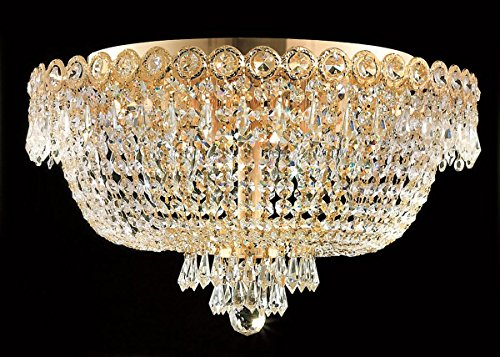 Century Collection 6 Light Crystal Flush Mount Ceiling Fixtures in Gold Finish Century Collection Flush