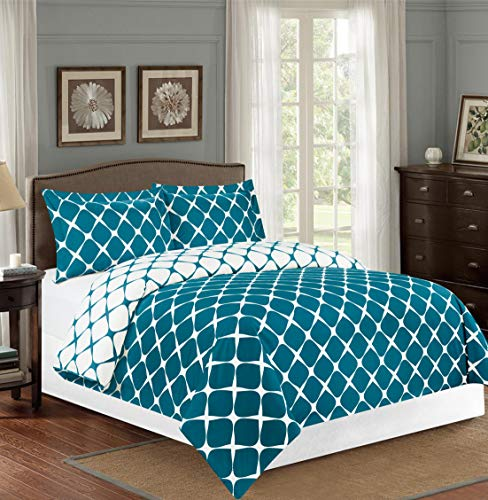 - Elegant Comfort  Luxury Soft and Cozy 1500 Thread Count Premium Hotel Quality 3-Piece Milano Trellis Pattern 2-Tone Printed Reversible Duvet Cover Set with Shams, King/California King, Teal