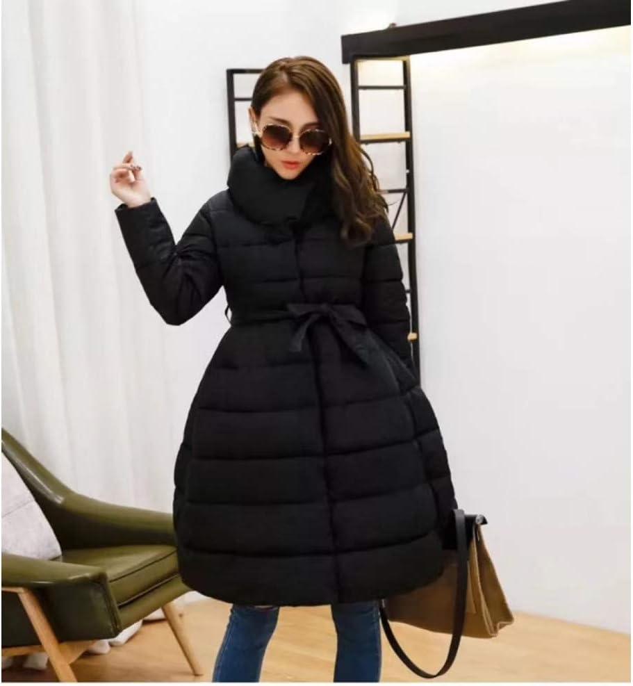 XIAOJIE Manteau de Coton des Femmes Winter Coat Women Skirt Parka Fashion Bowknot Waist Medium Long Stand Collar Cotton Padded Warm Jacket M