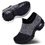 Women's Slip On Mesh Walking Shoes Air Cushion Comfortable Platform Work Sneakers Grey