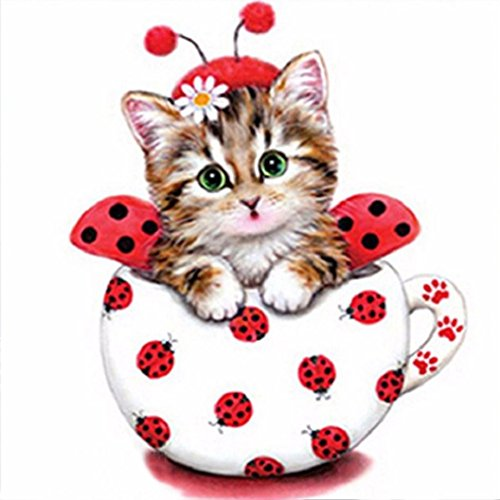 Wall Decor,RNTOP_Home Decor Colorful Cat 5D DIY Diamond Painting Embroidery Cross Craft Stitch Home Decor Art Wall Sticker For Walls (E) (Cat Cross)