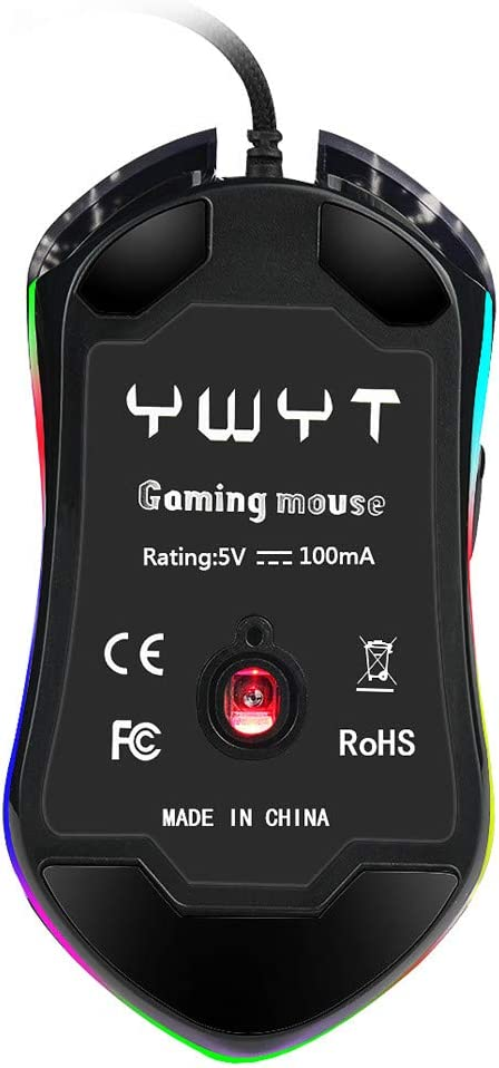Cinhent Gaming Mouse Wired Comfortable Grip Ergonomic Optical PC Computer Gaming Mice for Laptop G819 Mechanical Gaming Mouse Color Backlit USB Wired Optical Mouse Adjustable