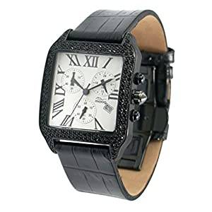 Moog Paris - Think Different - Women / Men Chronograph Watch with white dial, black strap in genuine calf leather - - Made in France - M44272F-004