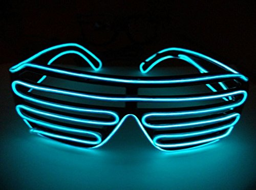 Flashing Neon LED Glasses EL Wire Light Up Shutter Sunglasses Costumes for Halloween Party (Blue)