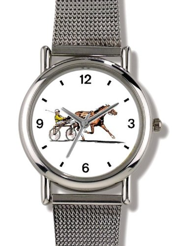 Sulky Horse or Standardbred Racehorse - WATCHBUDDY ELITE Chrome-Plated Metal Alloy Watch with Metal Mesh Strap-Size-Small ( Children's Size - Boy's Size & Girl's Size ) ()