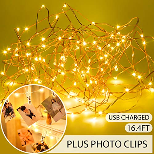 king do way String Lights for Bedroom,50LED 17FT Fairy Lights with 50 Photo Clips USB Powered Warm White Waterproof Fairy Light for Indoor Outdoor Wall Decorations from king do way