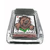 California Bear Glass Ashtray 4'' X 3'' D1 State Animal Bear Flag California Republic Cali