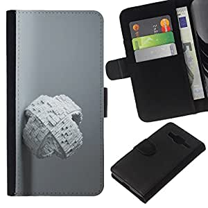 All Phone Most Case / Oferta Especial Cáscara Funda de cuero Monedero Cubierta de proteccion Caso / Wallet Case for Samsung Galaxy Core Prime // White Abstract Cube