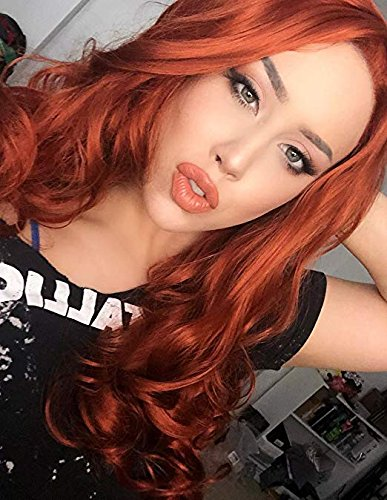 Fashion Long Wavy Lace Front Wigs Synthetic Copper Red Synthetic Hair Wig For Women Heat Resistant Fiber Half Hand Tied 24 inches Aibei'er