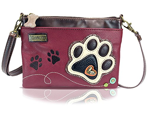 Chala Mini Crossbody Handbag, Multi Zipper, Pu Leather, Small Shoulder Purse Adjustable Strap - Ivory Paw - Maroon ()