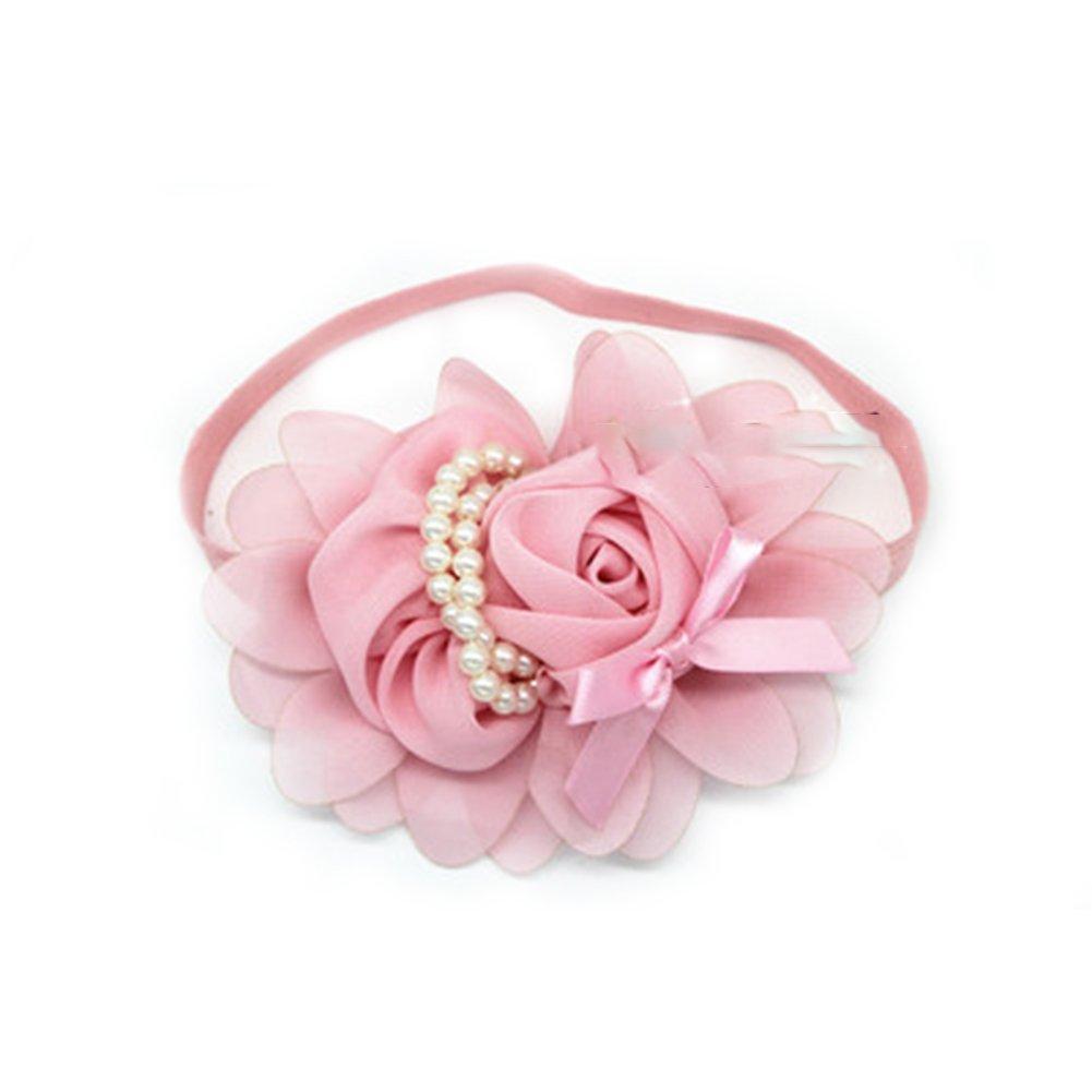 newin Star Bandeau Bébé, bandeau pour filles bande de cheveux de bébé avec motif de fleur rose et perle Cadeaux pour filles (Rose)
