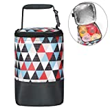 insulated baby bottle holder - Insulated Baby Bottle Bag for Daycare - MBJERRY Size Upgrade Breastmilk Cooler Bag Baby Bottle Tote Bags, Easily Attaches to Stroller(Colored Triangle, Fits up to 4 Large 8 Oz. Bottles)