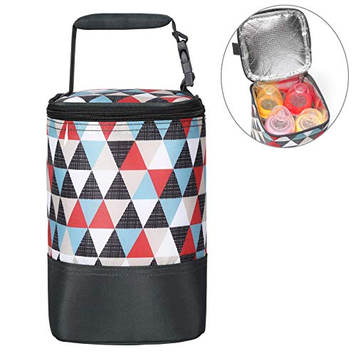 Insulated Baby Bottle Bag for Daycare - MBJERRY Size Upgrade Breastmilk Cooler Bag Baby Bottle Tote Bags, Easily Attaches to Stroller(Colored Triangle, Fits up to 4 Large 8 Oz. Bottles)