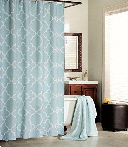 Max Studio Home 100 Percent Cotton Shower Curtain Moroccan Tile Quatrefoil Light Turquoise Aqua White Lattice 72 Inch By