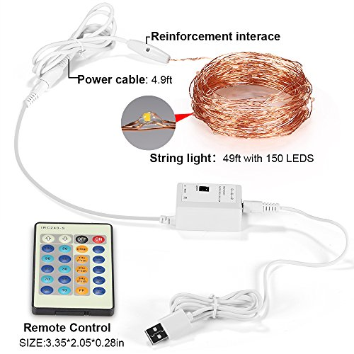 String Lights With Remote Control : Remote Control LED String Lights 49ft 150 LEDs GRDE Dimmable - Import It All