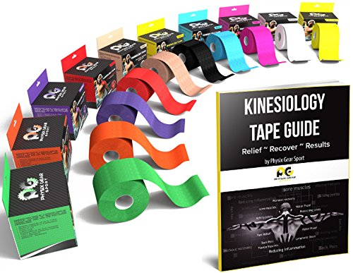 Physix Gear Sport Waterproof Kinesiology Tape 16ft Uncut Roll with 82pg EGuide - Ktapes Kinesiology Tape, Knee Tape for Knee,  Muscle Tape Kinesiology Tape for Sports Taping, Weightlifting Tape (Left Lower Back Hip And Knee Pain)