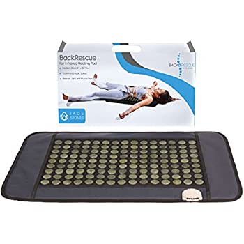 "Amazon.com: BACKRESCUE by Dr. James Far Infrared Heating Pad Pro Quality| Fast Pain Relief At Home| Negative Ion| 135 Jade Stones| Covers Full Spine 21"" X 32"" 