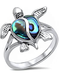 Simulated Abalone Shell Turtle .925 Sterling Silver Ring Sizes 4-11
