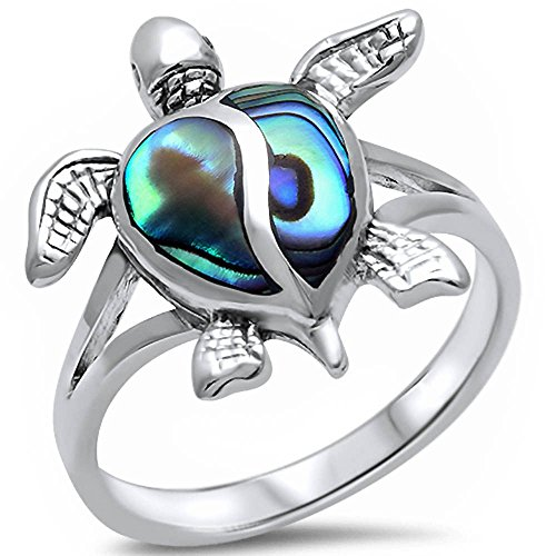 Simulated Abalone Shell Turtle .925 Sterling Silver Ring Size 7 Turtle Ring