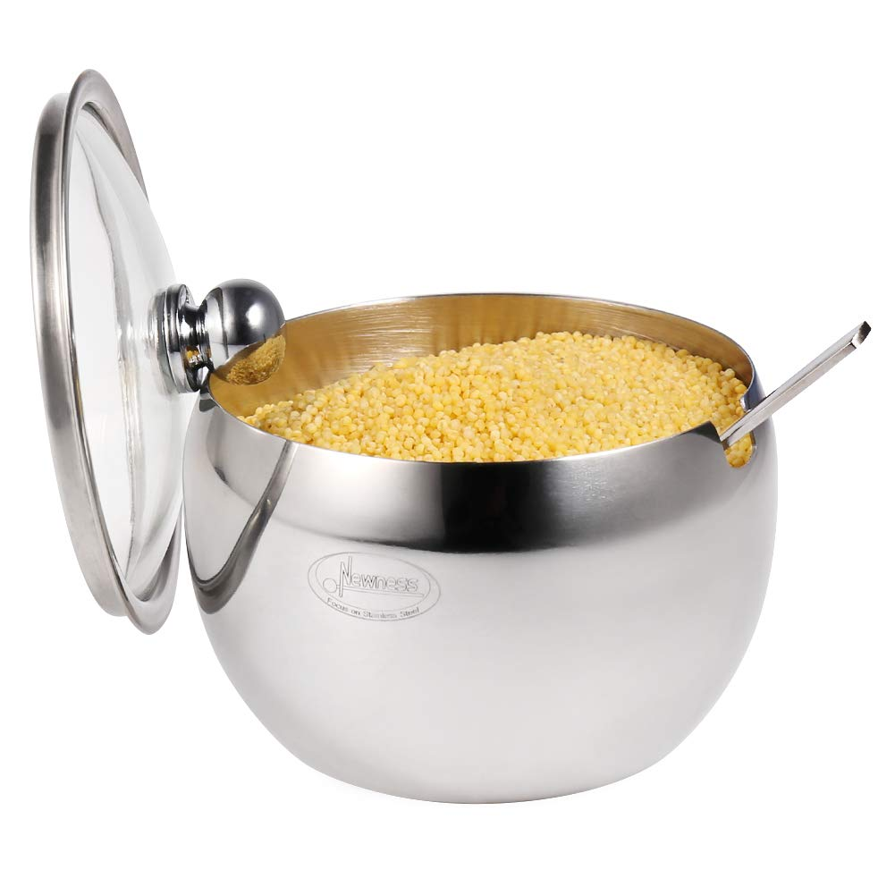 Newness Stainless Steel Sugar Bowl with Clear Lid(for better recognition) and Sugar Spoon for Home and Kitchen, Drum Shape (Small Size, 8.1 Ounces(240 Milliliter))