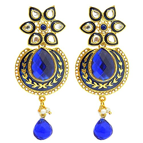 [Young & Forever Ethnic Diva Collection Maroon All That Jazz Blue Stone and Pearl Studded Meena Dangler Earrings For Women / Girls festive / party wear E313] (All That Jazz Pearl Earrings)