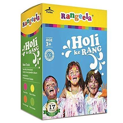 Pidilite Rangeela Holi Ke Rang - 4 Shades Herbal Gulal Natural Non Toxic Colors, 300g