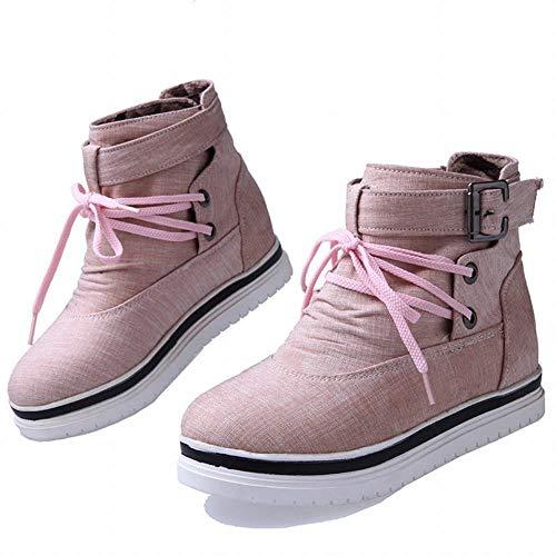 Mujer Zapatos Cordones 43 Botas Planas De E Otoño 35 Rosado botas botas Invierno Luo Martin Elevadas SqgpwdEwc
