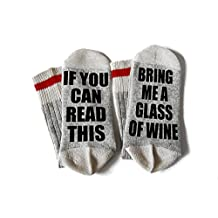 If You Can Read This Bring Me A Glass of Wine Wool Winter Novelty Crew Socks Unisex