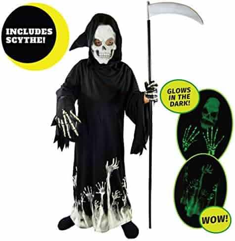 Spooktacular Creations Grim Reaper Glow in The Dark Deluxe Phantom Costume Kids