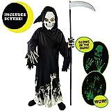 Spooktacular Creations Grim Reaper Glow in The Dark Deluxe Phantom Costume for Child (M(8-10)) Black