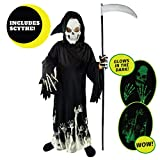 cool costume for kids - Spooktacular Creations Grim Reaper Glow in The Dark Deluxe Phantom Costume for Child (M(8-10))