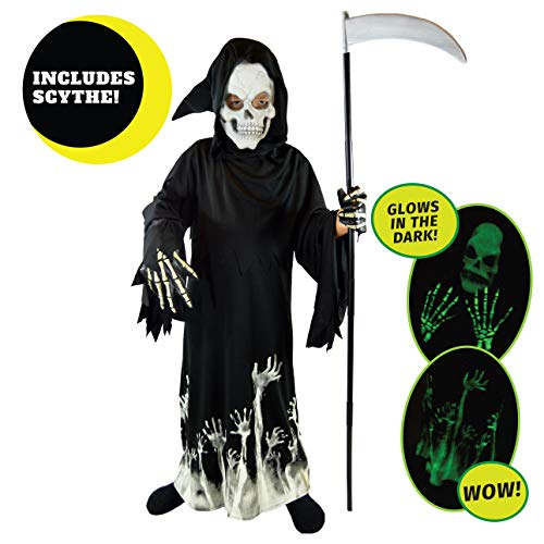 Spooktacular Creations Grim Reaper Glow in The Dark Deluxe Phantom Costume for Child (XL(12-14)) Black ()